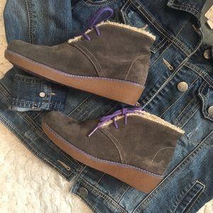 Girls Clark's Suede Wedge Boots